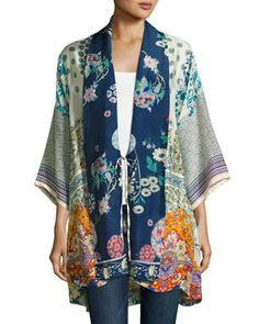 Mixed-Print+Twill+Kimono+Jacket,+Multi,+Plus+Size+by+Johnny+Was+at+Neiman+Marcus.