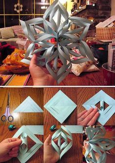 "How to Make a 3D Paper Snowflake | #Christmas | ""3D paper snowflakes look beautiful hanging in a window or on a wall. Fun for kids or adults, they are easy to make. Some like them for the Winter Holidays or just for the winter, but you may like them any time!"" On Wiki How"