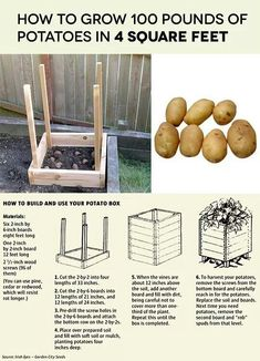 Potato box- limited space gardening.  Modification is to sub door hinges for screws on one side for each level, making this a more long-term usable structure.