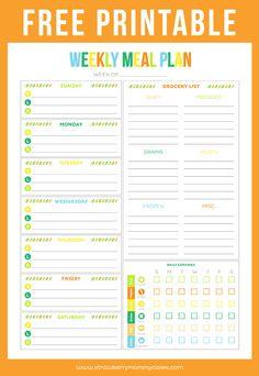 Free Printable Menu Planners   Friday Favorite 5