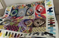 Colorful New York Beauty Starbursts by pas194220531659.  Finished with the help of Quilting Big Projects on a Small Machine on Craftsy.