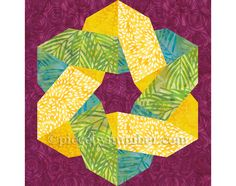 """Knotty & Nice quilt block pattern paper by PieceByNumberQuilts 12"""" block"""