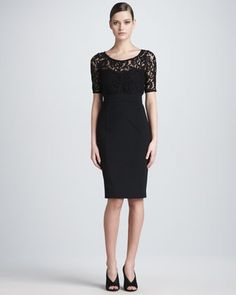 Lace-Top Half-Sleeve Sheath Dress by Burberry London at Neiman Marcus.