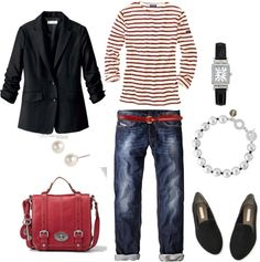 """Wearing Today"" by bluehydrangea on Polyvore {I am thinking i need to find that blazer I have stashed somewhere}"