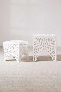 sienna carved wood table set