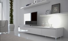 White entertainment unit - simple, elegant. However need to be able to use remotes for dvd players without needing to open drawers. Glass door needed.