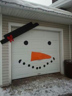 Garage door snowman