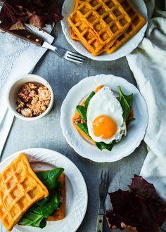 Sweet potato waffle sandwiches with chipotle, feta, spinach and egg // Bataattivohveli-sandwichit
