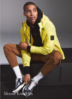 Holt Renfrew Winter 2021 Men's Outerwear | The Fashionisto Fashion Tag, Man Fashion, Yellow Windbreaker, Black Men Beards, Holt Renfrew, The Fashionisto, Beard Styles For Men, Marketing Program, Men's Jackets