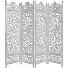 Kamal The Lotus Antique White 4 Panel Handcrafted Wood Room Divider... ($195) ❤ liked on Polyvore featuring home, home decor, panel screens, lotus home decor, handcrafted home decor, handmade home decor, lotus flower home decor and wooden room dividers