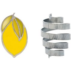 Jacquemus Yellow and Grey Citron Spring Earrings (800 BRL) ❤ liked on Polyvore featuring jewelry, earrings, yellow, grey jewelry, metal earrings, yellow earrings, metal jewelry and gray jewelry