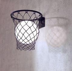 Lampe ronde dans un panier de basket - déco DIY