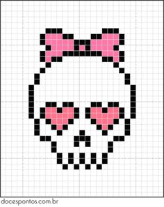 A quick and easy skull cross stitch chart for girls Perler Patterns, Loom Patterns, Beading Patterns, Embroidery Patterns, Beaded Cross Stitch, Cross Stitch Embroidery, Cross Stitch Skull, Cross Stitch Designs, Cross Stitch Patterns