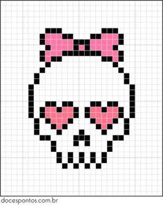 A quick and easy skull cross stitch chart for girls Beaded Cross Stitch, Cross Stitch Embroidery, Cross Stitch Patterns, Cross Stitch Skull, Hama Beads Patterns, Beading Patterns, Pixel Art Halloween, Modele Pixel Art, Crochet Skull