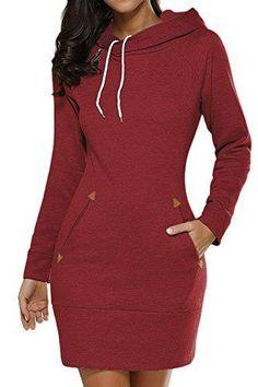 Oferta: 7.99€ Dto: -60%. Comprar Ofertas de La Mujer Casual Manga Larga Con Capucha Sudaderas Blusas Otoño Invierno Vestido Con Bolsillos Red L barato. ¡Mira las ofertas!