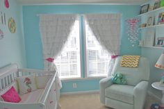 This girly, yet modern nursery features ruffled curtains! Turquoise Nursery, Aqua Nursery, Bright Nursery, Rose Nursery, Girl Nursery, Baby Bedroom, Baby Rooms, Ruffle Curtains, Nursery Inspiration