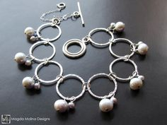 The Hammered Silver Rings Bracelet With Freshwater Pearls (jewelry, handmade, hand made, dressy, casual, red carpet, evening, wedding, bride, bridal, fashion, style, stylish, women, woman)