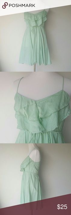 Free People Mint  Striped Sundress Small EUC Free People Cotton sundress with cinched waist and flated skirt. Shown on size 4 dress form. Size S Free People Dresses Mini