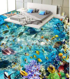 3d floor painting wallpaper Dream Underwater World Bathroom Bedroom 3D Floor 3d pvc wallpaper