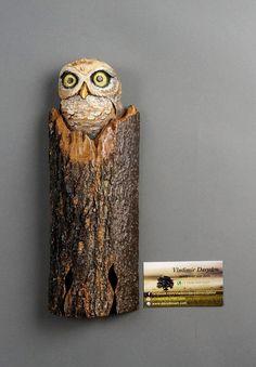 Chouette Hibou Sculpture sur Bois Art Murale Art Animalier Oiseau en Bois Pour Amateurs de Nature Décoration Unique Cadeau pour Elle  et lui