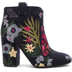Laurence Dacade Embroidered Wool Pete Booties (€870) ❤ liked on Polyvore featuring shoes, boots, ankle booties, booties, embroidered boots, high heel boots, high heel ankle booties, high heel booties and wool boots