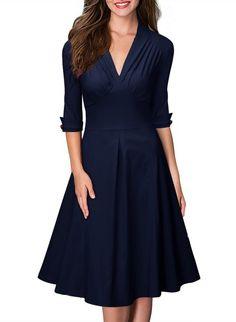 Miusol Damen 3/4 Arm Knielang Abendkleid Vintage stil Ballkleid Business Kleid Blau Gr.S