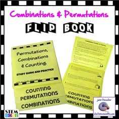 This Flip Book includes Combinations, Permutations, and Counting Principles taught in most Algebra classes and in Statistics.There are 19 problems for students to complete including a challenge problem on the back which is great for differentiation and early finishers.