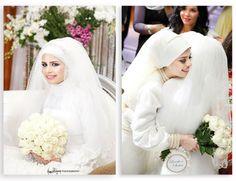 #whitee #hijab #weddingss #beauts Bridal Hijab, Hijab Wedding Dresses, Wedding Gowns, Hijab Ideas, Wedding Styles, Wedding Ideas, Hijab Niqab, Muslim Brides, Deen