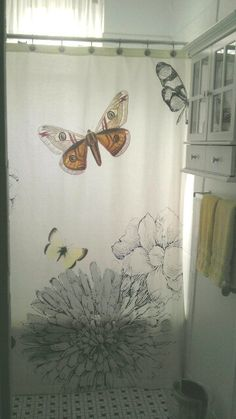 Curtains Ideas butterfly shower curtain : Nature study. Intricately rendered butterflies flit amongst the ...