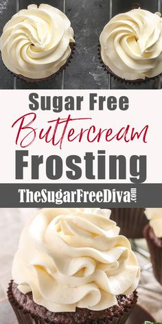 Easy and delicious recipe for sugar free buttercream frosting. Perfect for cakes and cupcakes! This is the perfect recipe for Sugar Free Buttercream Frosting that you can use for that next batch of cupcakes or yummy cake. This recipe is low in carbs and keto friendly.  Read more at:  thesugarfreediva.com/sugar-free-buttercream-frosting/ Copyright © thesugarfreediva.com Sugar Free Cupcakes, Sugar Free Frosting, Sugar Free Deserts, Sugar Free Baking, Sugar Free Sweets, Sugar Free Cookies, Low Carb Sweets, Sugar Free Recipes, Low Carb Desserts