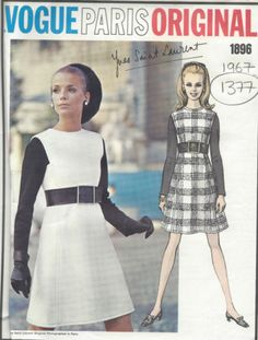 VOGUE PARIS ORIGINAL One-piece dress. High-waisted fitted dress with flared skirt has jewel neckline. Full length contrast sleeves set in square armholes. Robes Vintage, Vintage Dresses 1960s, Vintage Dress Patterns, Vintage Outfits, Vintage Wardrobe, Yves Saint Laurent, Vintage Vogue, Vogue Sewing Patterns, Clothing Patterns