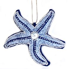 Coastal Blue and White Beaded Starfish 6 Inch Fabric Christmas Holiday Ornament #CFEnterprises