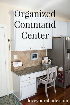 Home organization & storage ideas & solutions Organized Command Center at I'm an Organizing Junkie b I Heart Organizing, Organizing Your Home, Organizing Ideas, Command Center Kitchen, Command Centers, My Little Corner, Clutter Free Home, Drop Zone, Homemade Cleaning Products