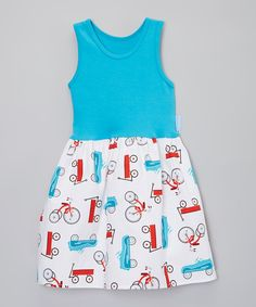 Look at this Alejandra Kearl Designs Blue & White Bicycle Dress - Infant, Toddler & Girls on #zulily today!