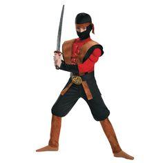 Ninja Warrior Muscle Boys Halloween Costume - Medium