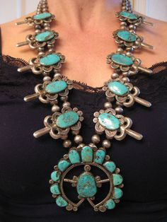 EARLY SIMPLICIO STYLE RARE vintage NAVAJO TURQUOISE SQUASH BLOSSOM NECKLACE $2,580.00