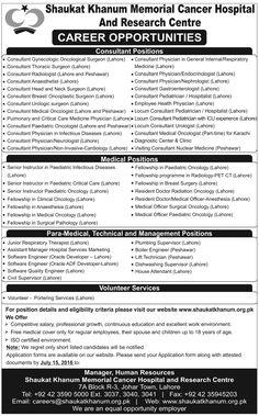 Jobs in Shaukat Khanum Memorial Cancer Hospital