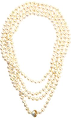 """CATHY WATERMAN       Japanese Akoya Pearl Necklace with South Sea Pearl bead set with 22k Yellow Gold Vine Detail and White Pave Diamonds.    90""""€ length 17,300 USD"""
