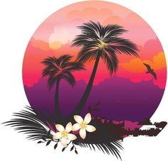 Tropical pink sunset camper RV motor home mural vinyl graphic decal sticker Palm Tree Drawing, Circle Drawing, Vintage Camper, Guitar Stickers, Purple Sunset, Hawaiian Art, Arte Pop, Graphic, Motorhome