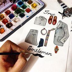 Mens Fashion #art #illustration #mensfashion #jacket #shoes #tie #belt #watercolor #mustache #gentlemen #shirt #shimonastudio