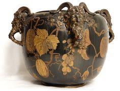 Large pot glazed ceramic fauna satyr japonisant Art Nouveau 19th