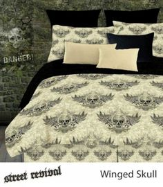 Street Revival Winged Skull Bedding - Best Sales and Prices Online! Home Decorating Company has Street Revival Winged Skull Bedding Full Comforter Sets, King Comforter, Bedding Sets, Boy Bedding, Bed In A Bag, Black Bedding, My New Room, Luxury Bedding, Unique Bedding