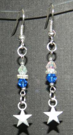 Blue White Swarovski Crystal Silver Stars Dangle Earrings New   eBay