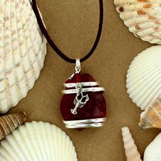 Sadie Green's Sea Glass Pendant with Lobster Charm