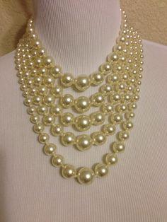 Vintage Five Strand Faux Pearl Necklace