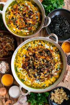 The closest English word to aash I can think of is 'pottage' (a thick soup of vegetables and often meat). Aash however has an additional criteria: It always involves fresh herbs. Aash-e Reshteh is flavour packed with herbs, spinach, beans, lentils, noodles, onions, and other goodies.