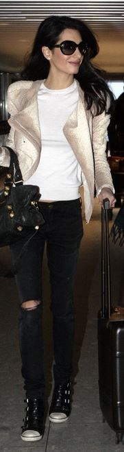 Who made Amal Clooney's leather jacket, black sunglasses, handbag, and sneakers…