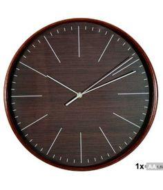 Reloj de pared madera color wengue de 32 cm