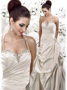 Satin Halter Sweetheart Side Draped Bodice A-line Wedding Dress