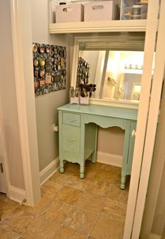 in closet makeup station.shallow drawers for makeup, deep drawers for lotions and hair stuff, reuse an old mirror,get good lighting fording makeup, blue mason jars for brushes, bin drawers out on counter for everyday makeup, eye shadows & blushes In Another drawer